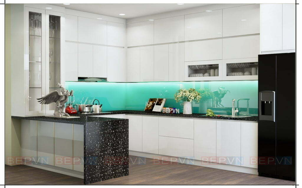 Lựa chọn màu xanh làm sáng không gian phòng bếp của gia đình bạn