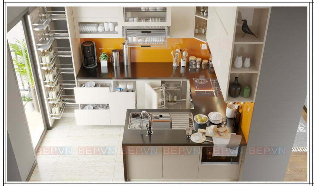 Thiết kế tủ bếp chữ U hiện đại, tiện nghi