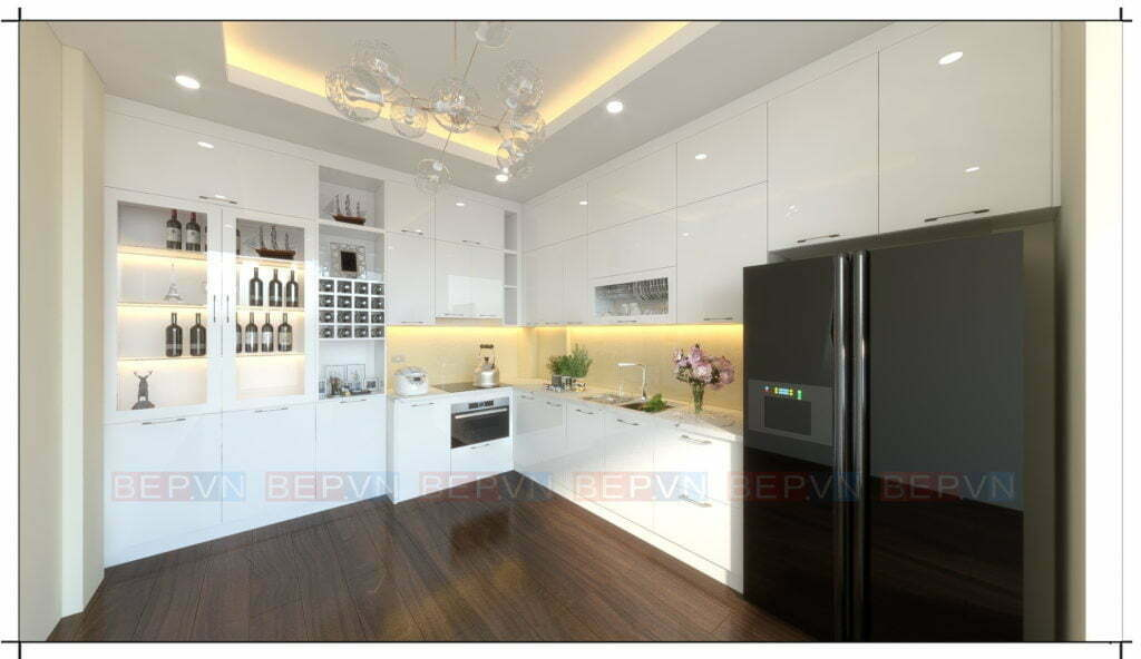 thiết kế tủ bếp đẹp kiểu chữ L