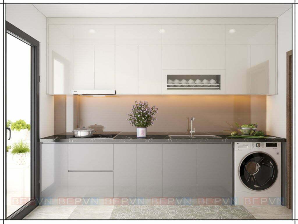 thiết kế tủ bếp lựa chọn gam màu xám nhạt liền khối