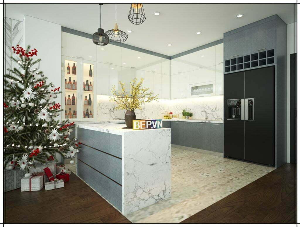 sáng tạo khi pha trộn màu sắc khi thiết kế tủ bếp