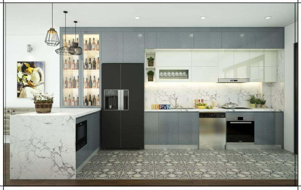 Điểm nhấn cho thiết kế tủ bếp là gạch ốp sàn ấn tượng