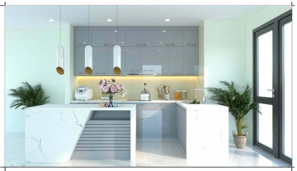 Tủ bếp đẹp tinh tế với kiểu dáng tối giản, hiện đại