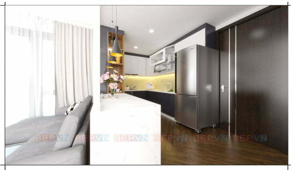 tủ bếp đẹp đơn giản và ấm áp