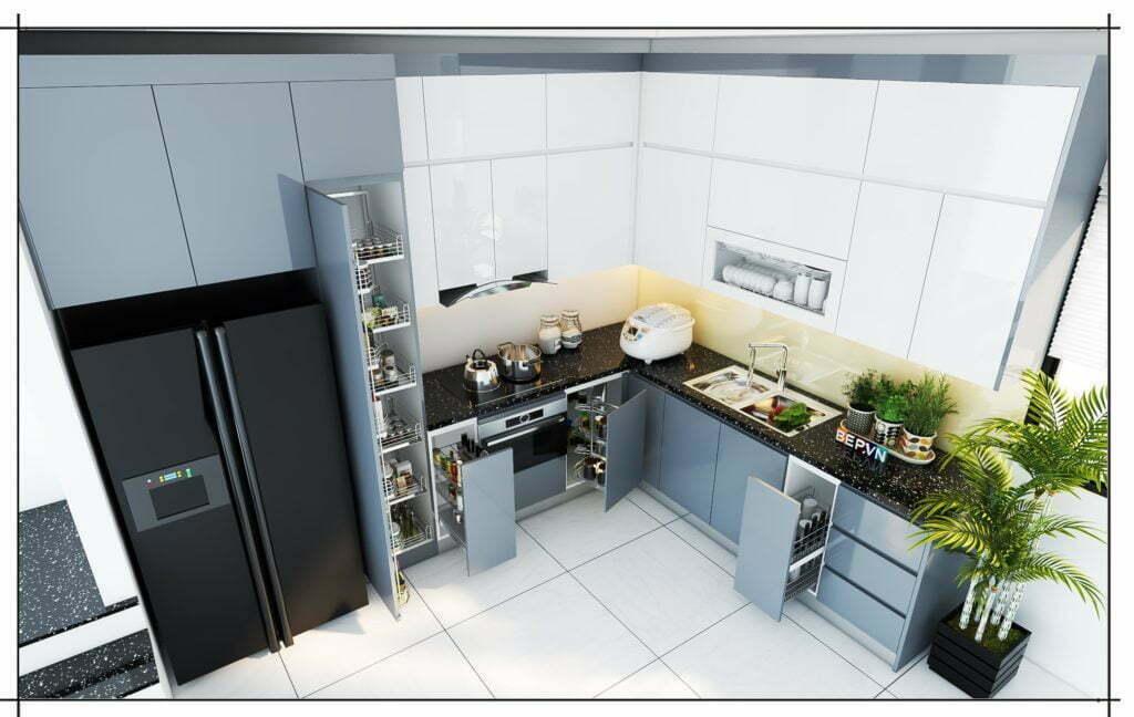 Thiết kế nhà bếp đẹp với gàm màu trắng, xám sắc nét kết hợp hài hòa