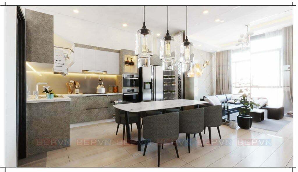 tủ bếp cho không gian rộng rãi, thông thoáng