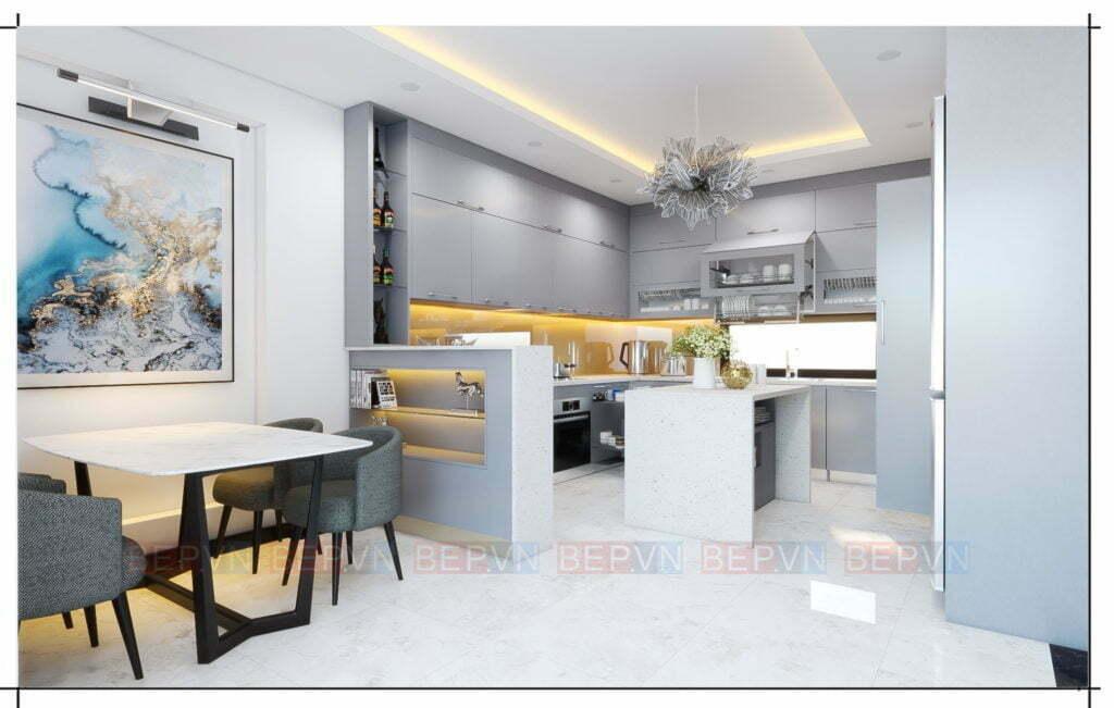 Lựa chọn tông màu xám làm chủ đạo cho thiết kế tủ bếp hiện đại