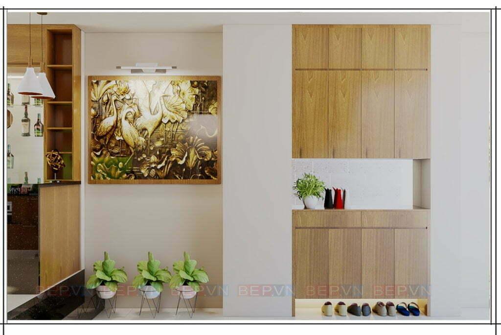 Thiết kế tủ giầy với chất liệu Laminate vân gỗ