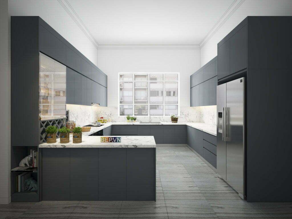 thiết kế tủ bếp sử dụng chất liệu lamiante chống chịu trầy xước
