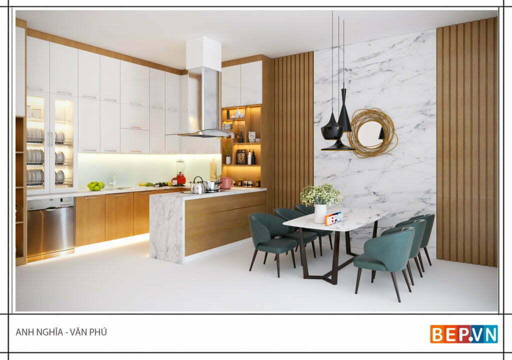 tủ bếp gỗ công nghiệp mang đến vẻ đẹp hiện đại, ấn tượng