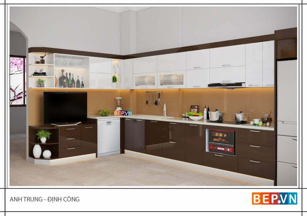 thiết kế tủ bếp gỗ công nghiệp kiểu chữ L