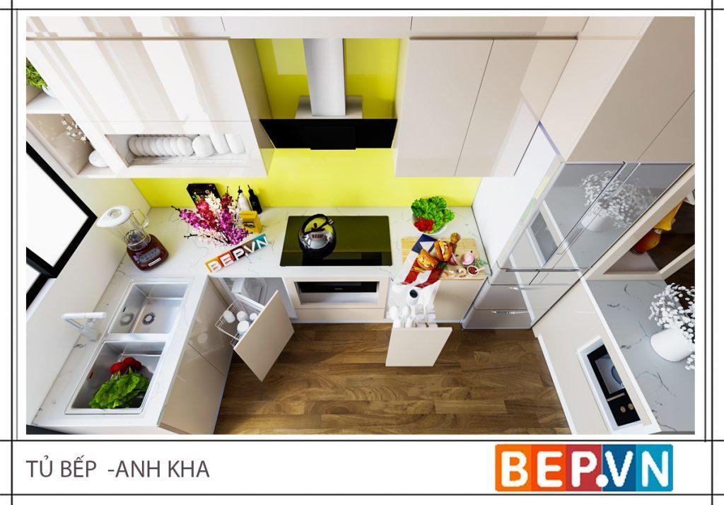 Thiết kế tủ bếp đẹp kiểu chữ U