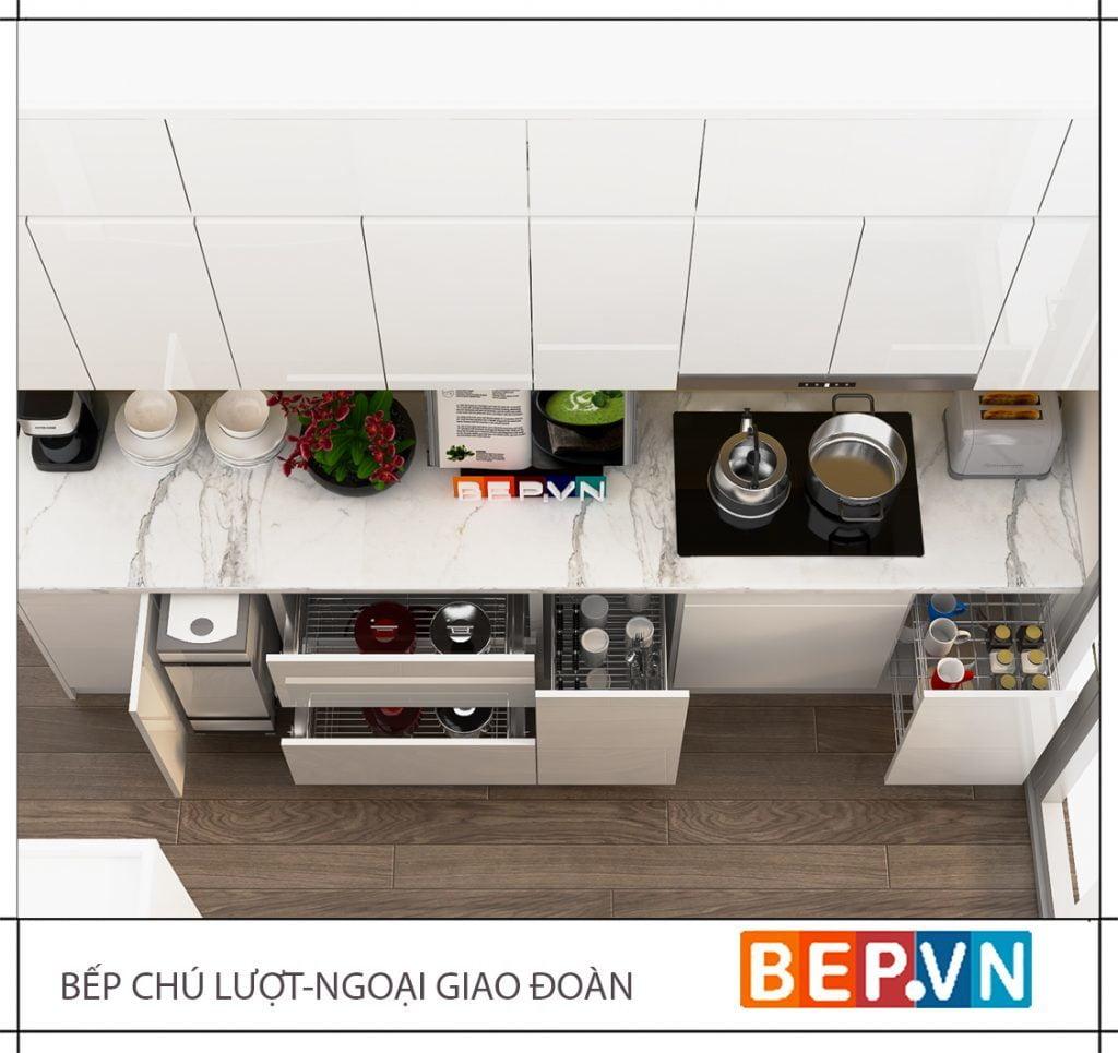 Lựa chọn gam màu trắng sáng cho thiết kế tủ bếp