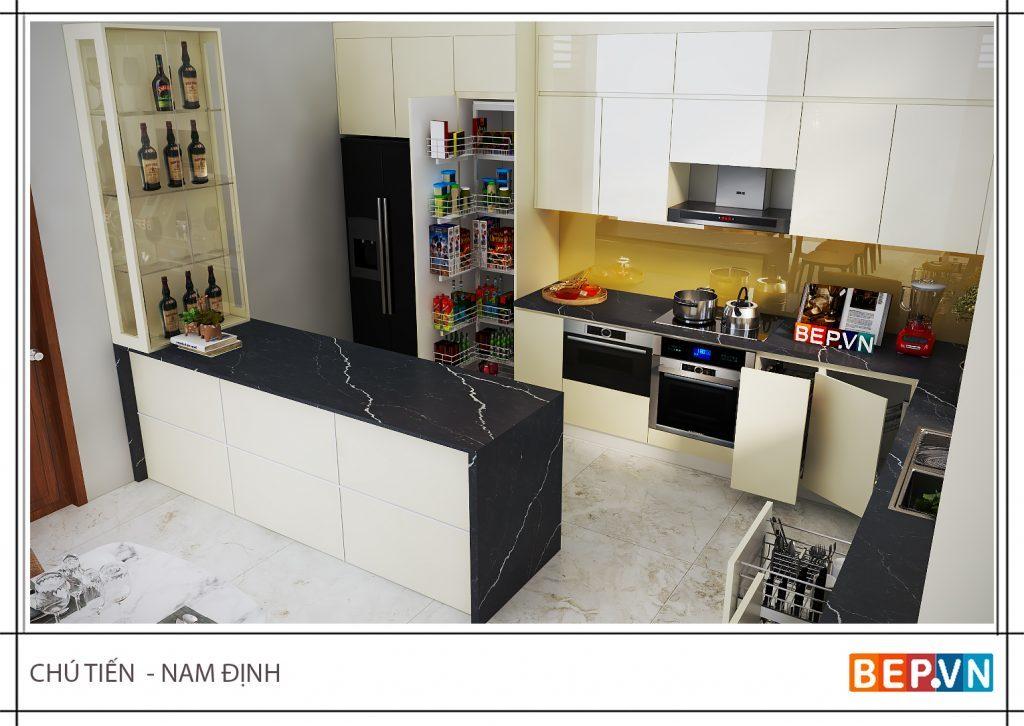 Thiết kế tủ bếp có bàn đảo bếp hiện đại hợp xu hướng