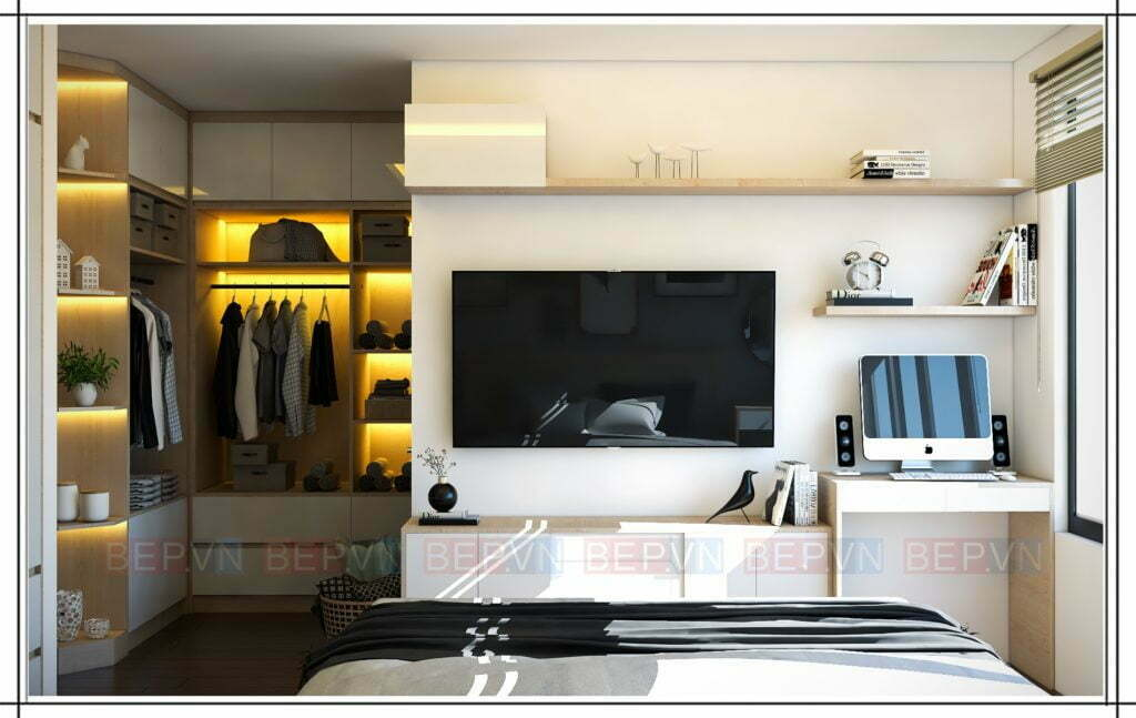 Phòng ngủ thiết kế kệ tivi đẹp, hiện đại