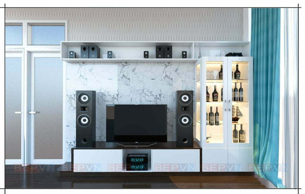 Thiết kế kệ tivi kết hợp tủ rượu sang trọng