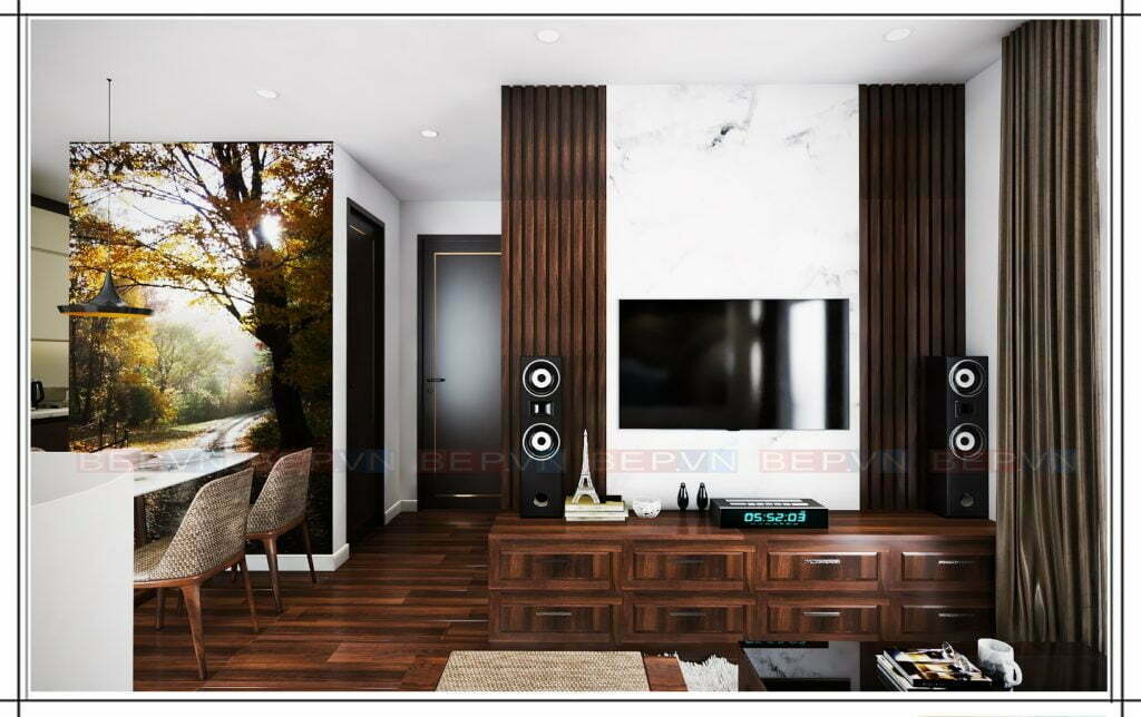 Thiết kế kệ tivi với chất liệu gỗ tự nhiên sang trọng