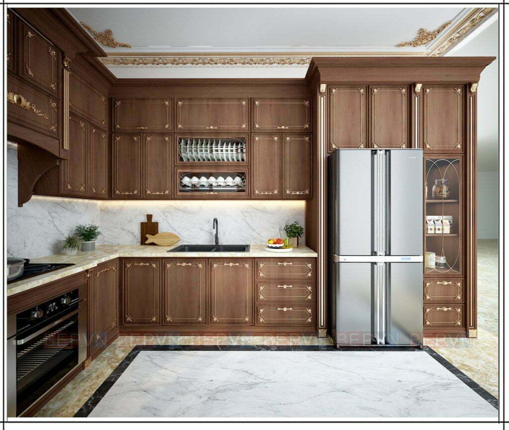 thiết kế nội thất phòng bếp theo phong cách tân cổ điển