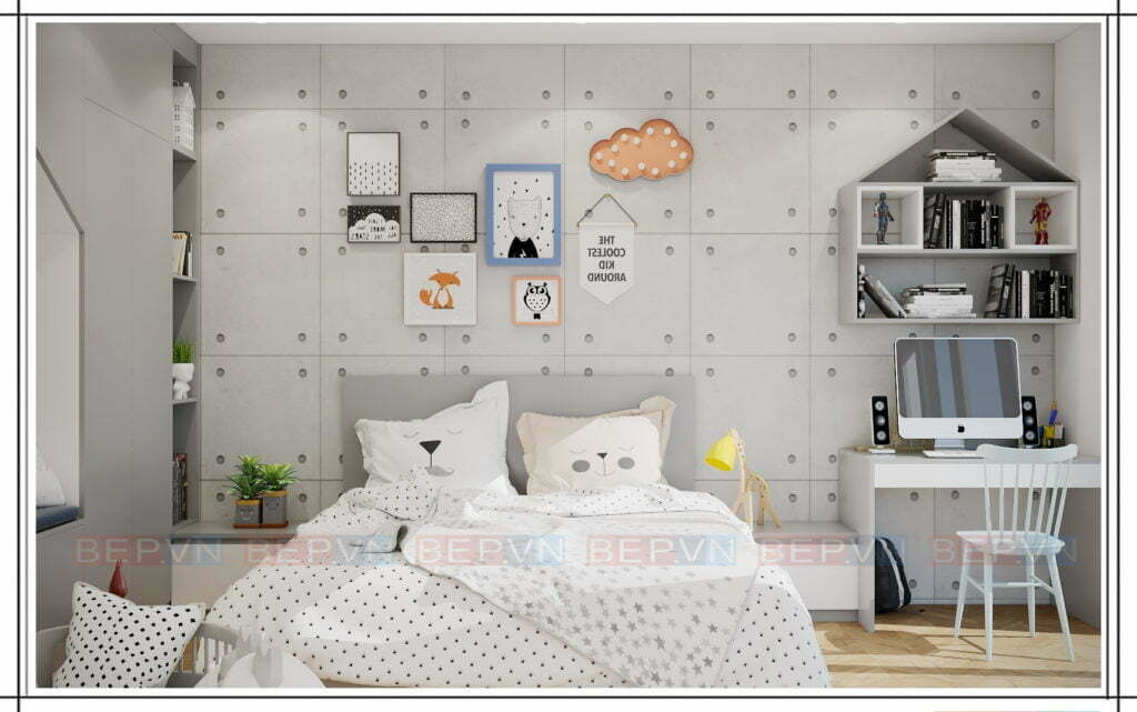 thiết kế nội thất đẹp, hiện đại cho phòng ngủ bé gái