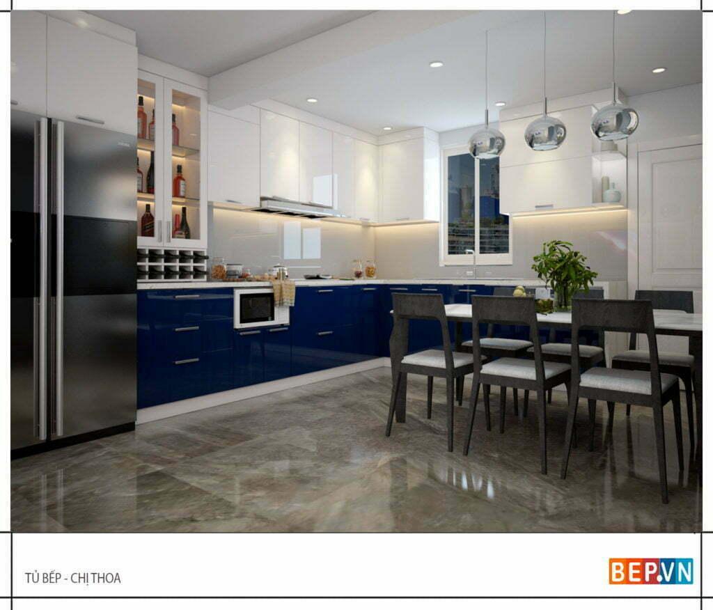 Lựa chọn màu sắc kết hợp hài hòa cho tủ bếp gỗ công nghiệp