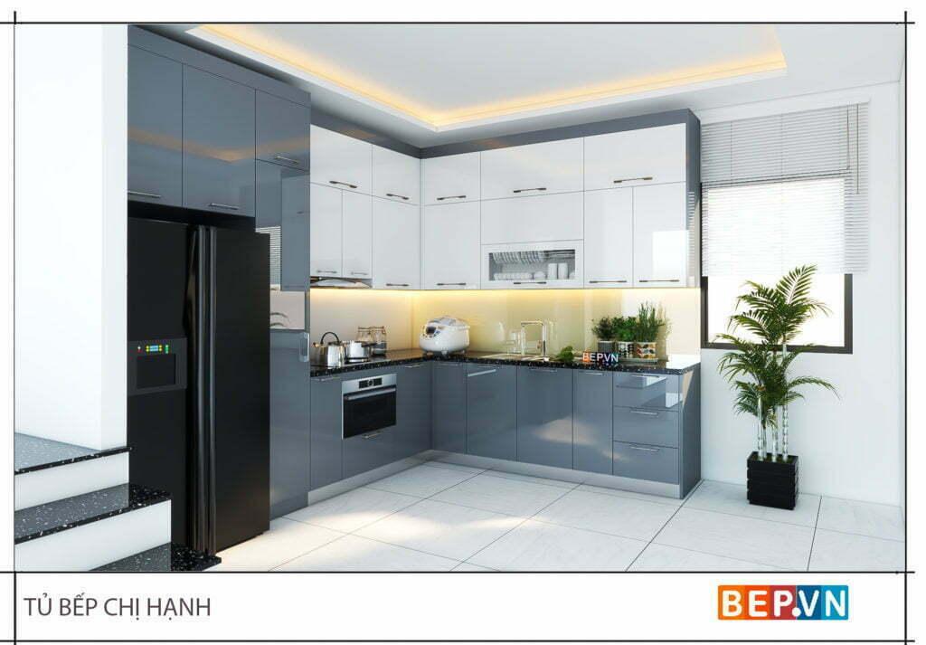 Thiết kế tủ bếp chữ L áp trần cho diện tích phòng bếp nhỏ