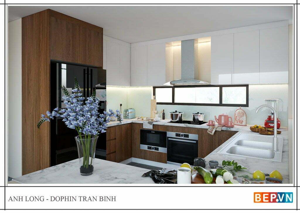 Tủ bếp kết hợp hai chất liệu cho phòng bếp trở nên ấm áp