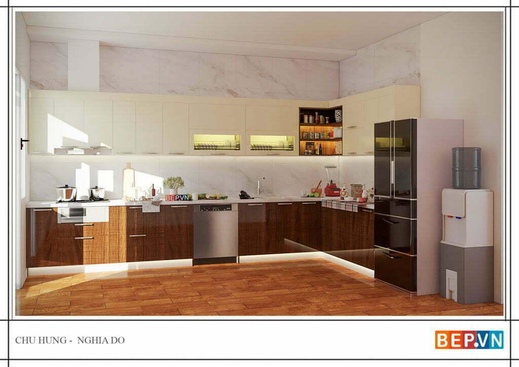 tủ bếp bằng gỗ công nghiệp