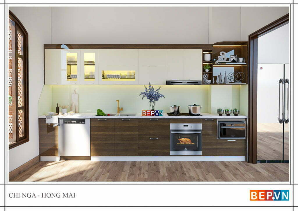 Thiết kế tủ bếp chữ i cho phòng bếp nhỏ hẹp