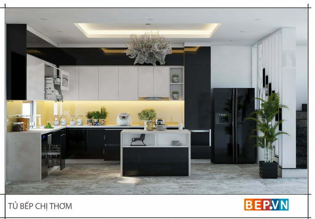 Lựa chọn hai gam màu đen trắng làm chủ đạo cho phòng bếp chị Thơm