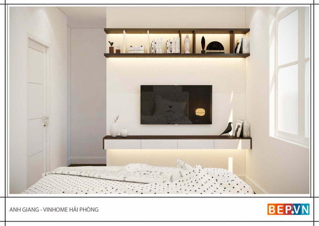 Thiết kế thêm kệ tivi cho phòng ngủ con gái