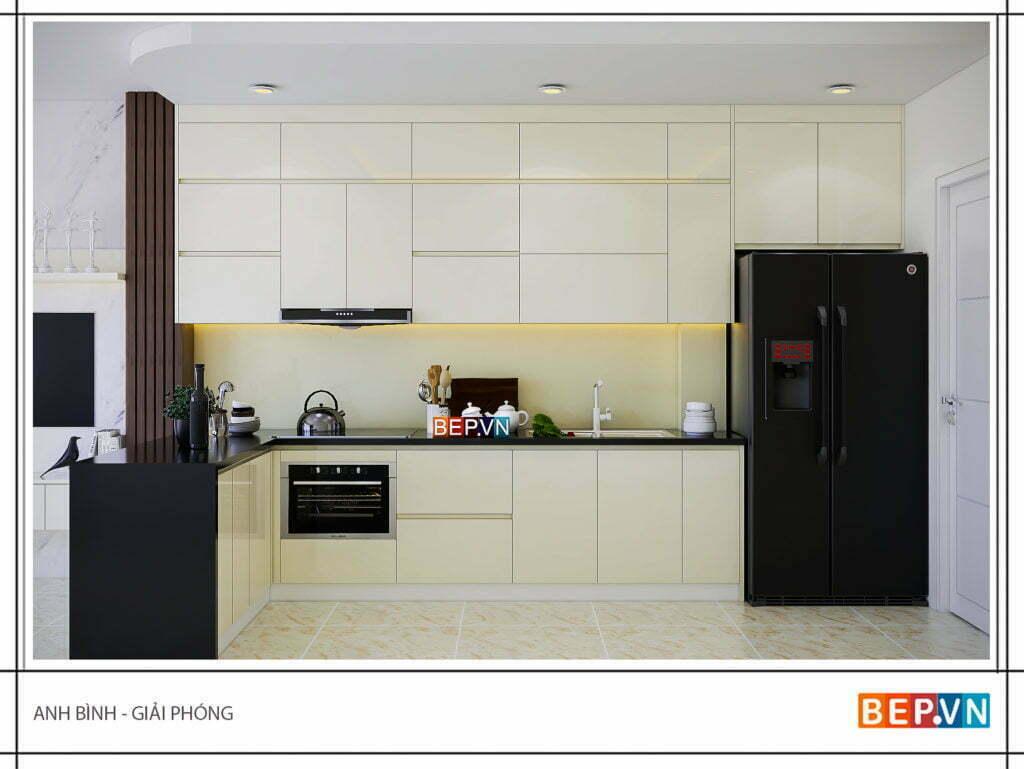 thiết kế tủ bếp đẹp với màu sáng cho phòng bếp thông thoáng
