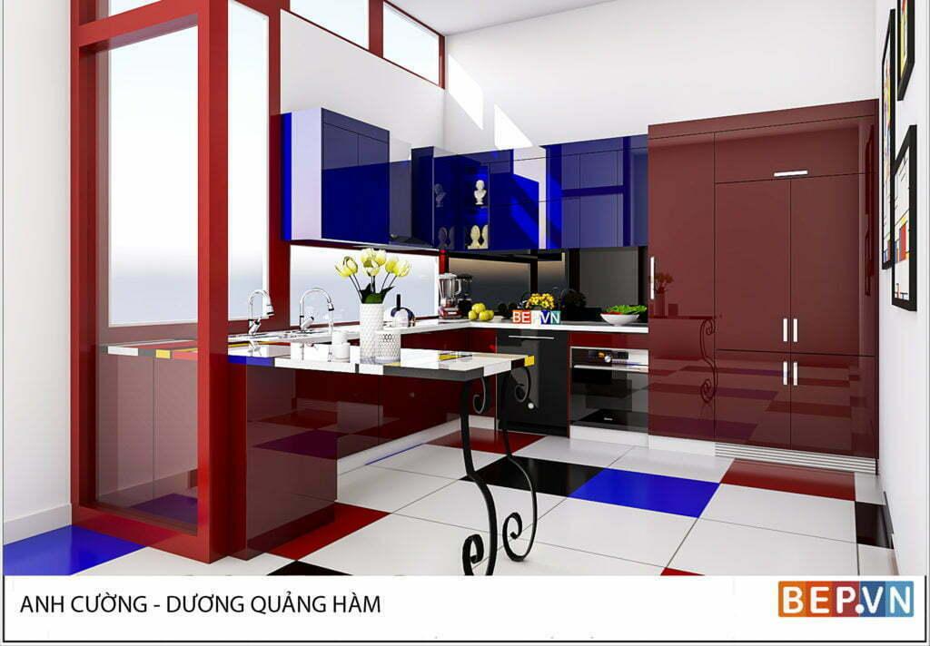 thiết kế tủ bếp theo phong cách Mondrian nhà anh Cường