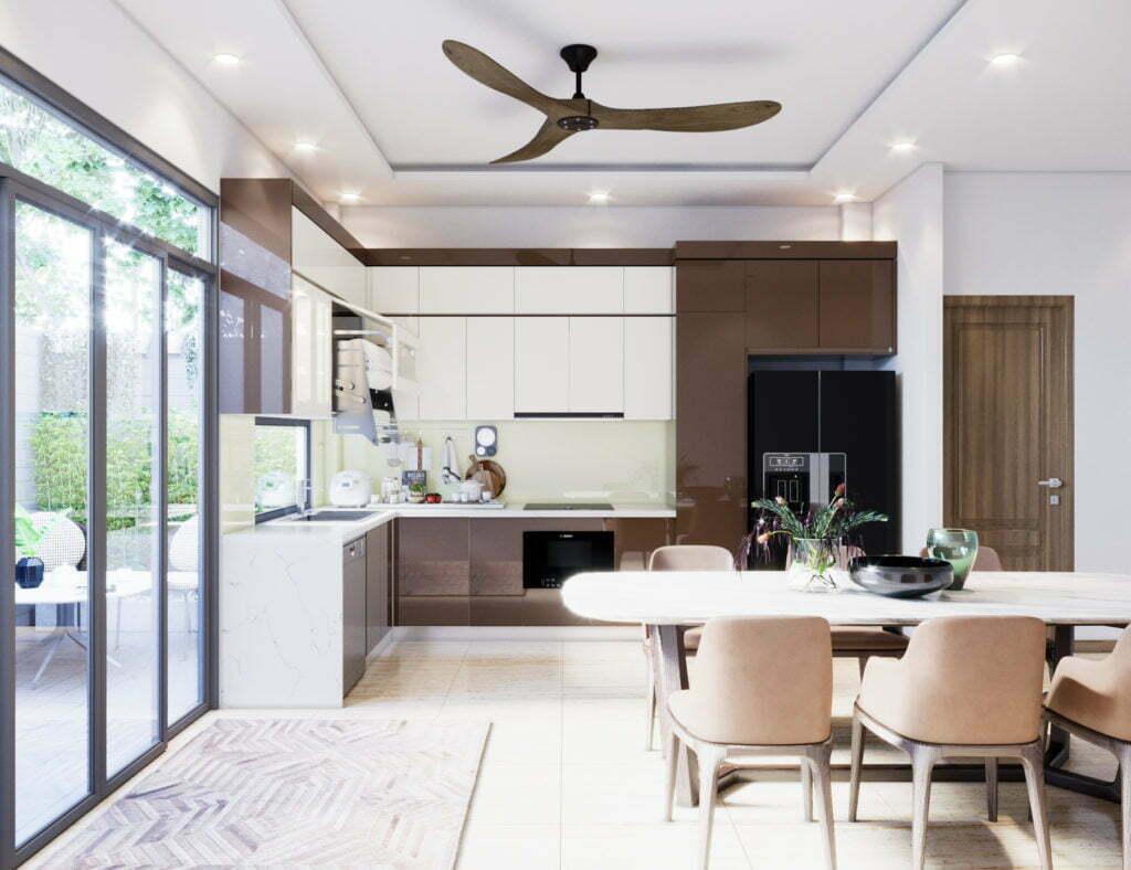 Thiết kế tủ bếp Acrylic bền đẹp, hiện đại