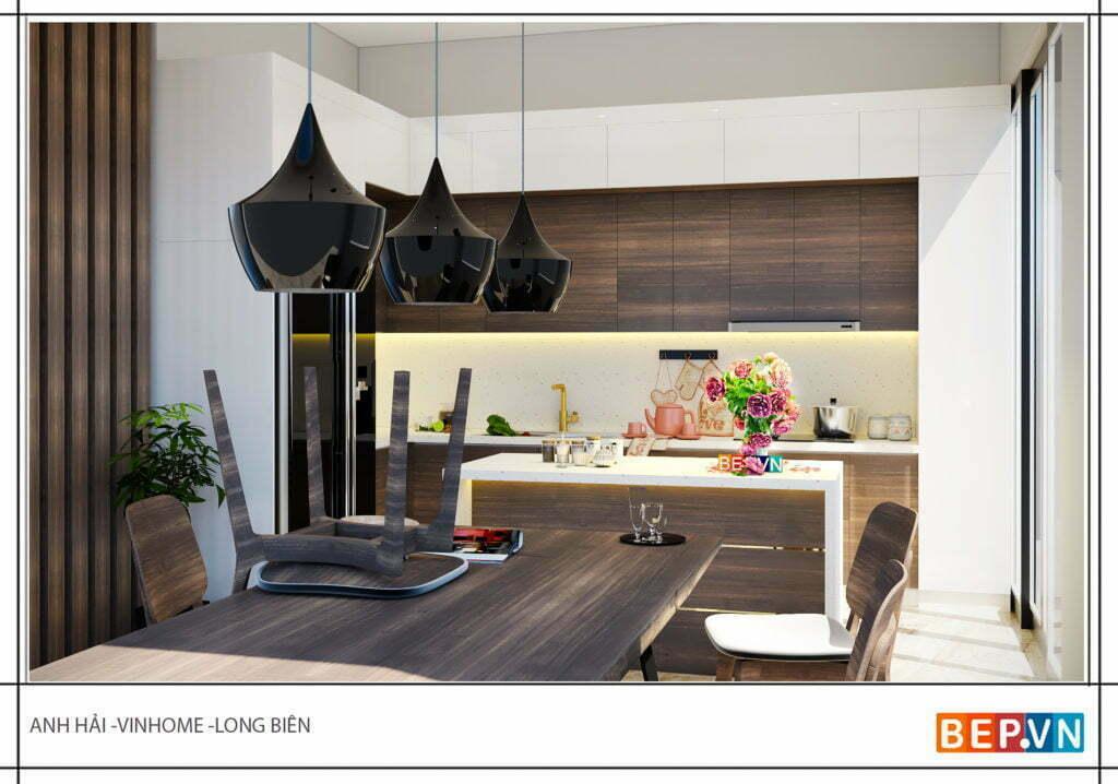 thiết kế phòng bếp ấm cúng, giản dị với chất liệu laminate