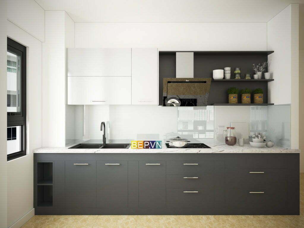 thiết kế tủ bếp chữ i hiện đại, công năng và sáng tạo