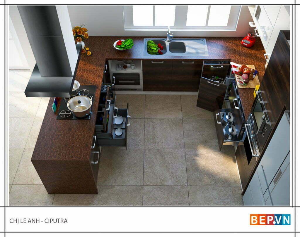 tủ bếp laminate mộc mạc, giản dị nhưng vô cùng tiện nghi