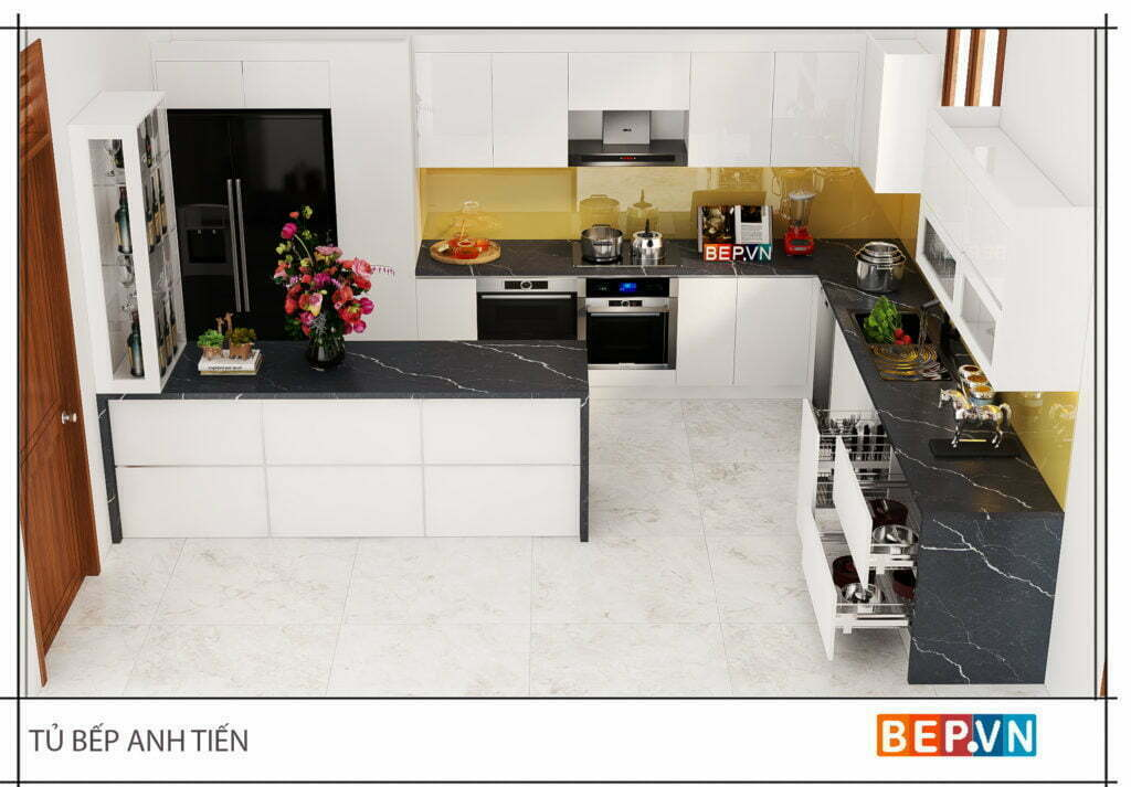 thiết kế tủ bếp thông minh, hiện đại và tiện nghi