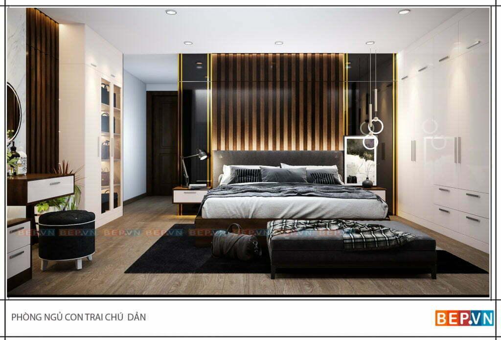 thiết kế nội thất chung cư cho phòng ngủ con trai