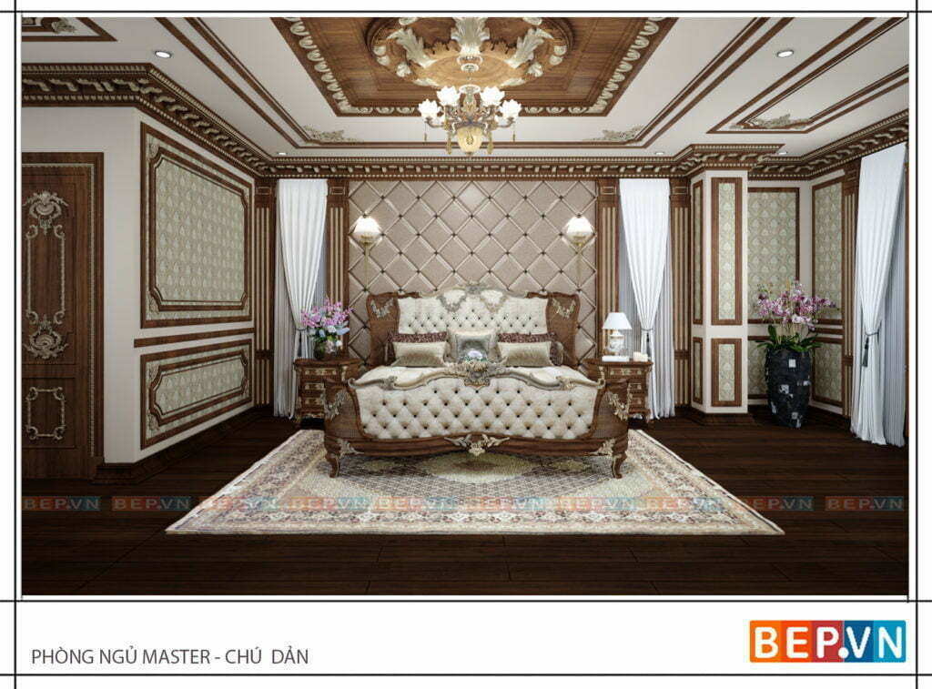 thiết kế nội thất phòng ngủ master sang trọng, tinh tế