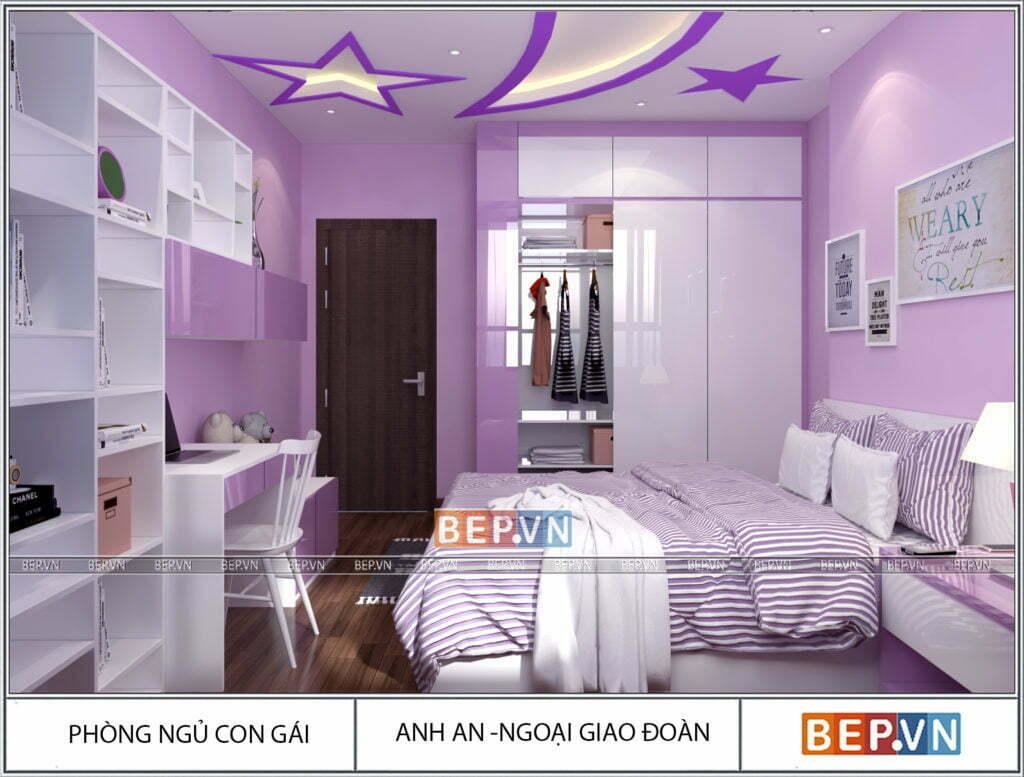 thiết kế nội thất phòng ngủ cho bé gái ngọt ngào, độc đáo