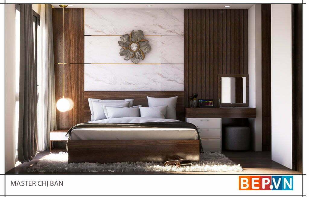 Thiết kế phòng ngủ master chị Ban