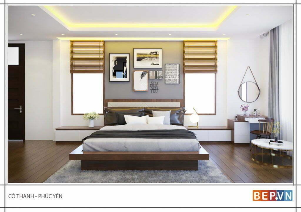 Phòng ngủ rộng với hai cửa sổ đón ánh nắng trực tiếp cho căn phòng trở nên thông thoáng