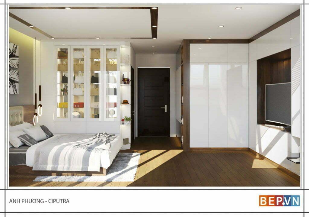 Bước vào phòng ngủ là vị trí tủ quần áo và nhà tắm