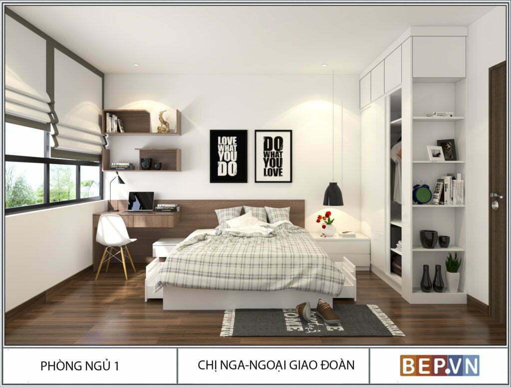 Thiết kế phòng ngủ với ô cửa sổ lớn đón ánh nắng