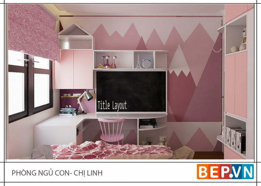 Thiết kế phòng ngủ bé gái nhà chị Linh