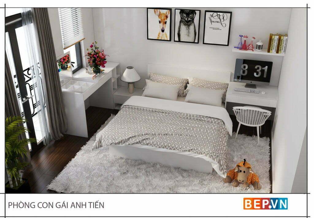 Thiết kế phòng ngủ nhẹ nhàng con gái anh Tiến
