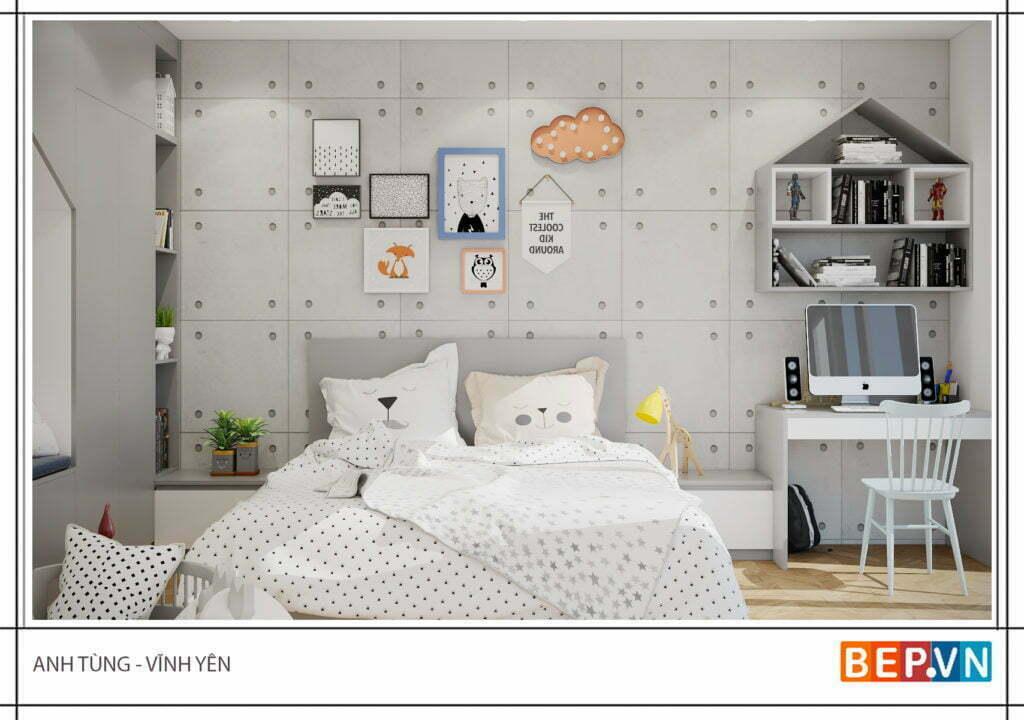 Thiết kế phòng ngủ dễ thương cho con gái anh Tùng
