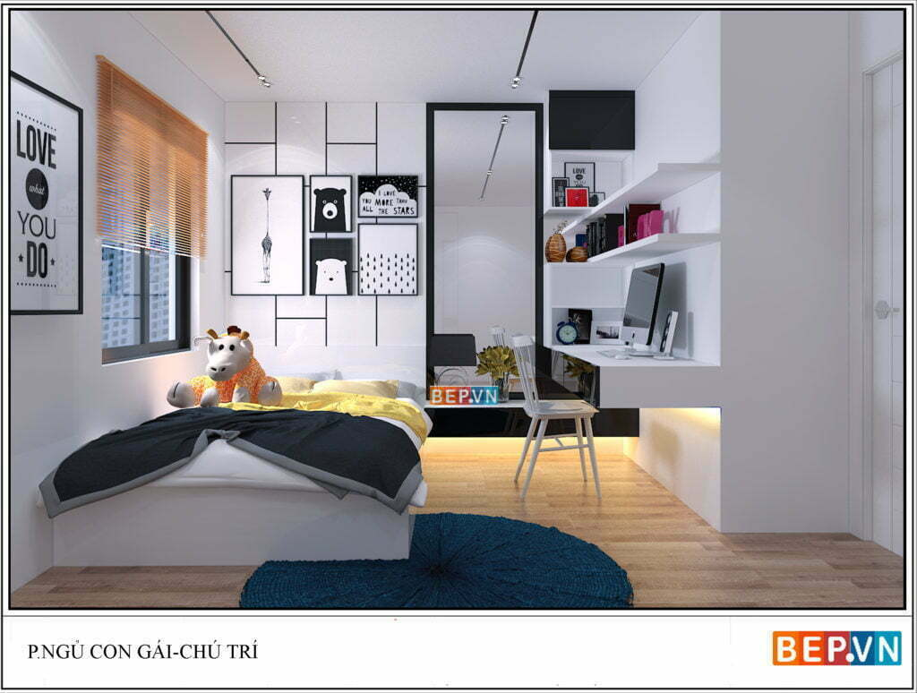 Mẫu thiết kế phòng ngủ hiện đại cho bé gái