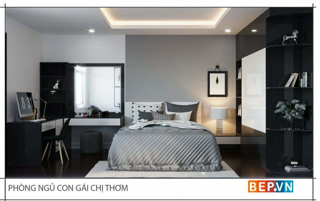 Thiết kế phòng ngủ cá tính với ba gam màu làm chủ đạo