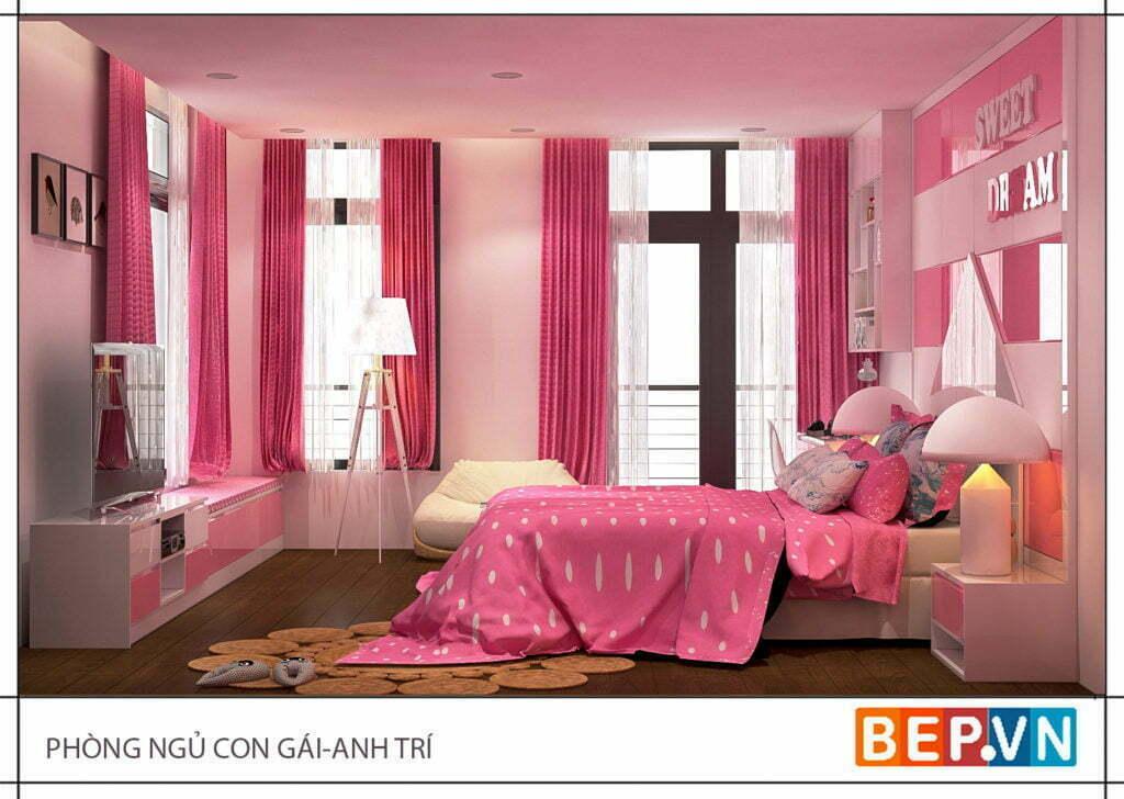 Phòng ngủ được thiết kế với các ô cửa sổ đón ánh nắng cho căn phòng thông thoáng